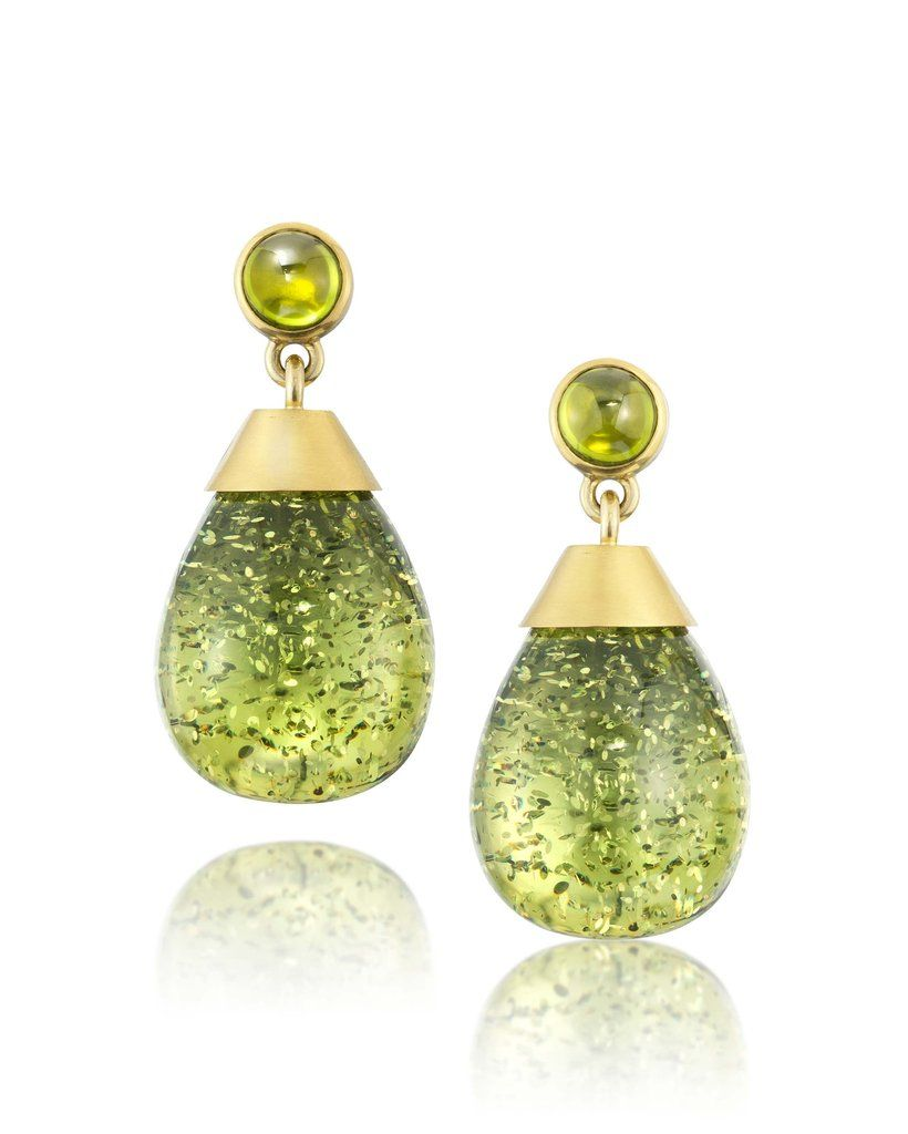 Green Amber & Peridot Earrings