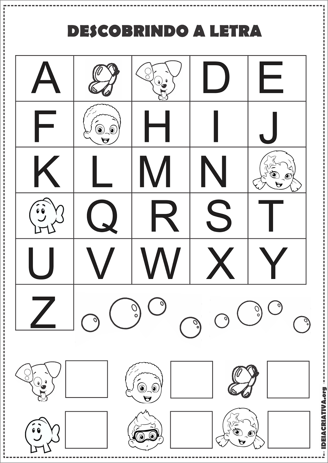 Extremamente Atividade Alfabeto Sondagem Volta às Aulas Bubble Guppies  SO37