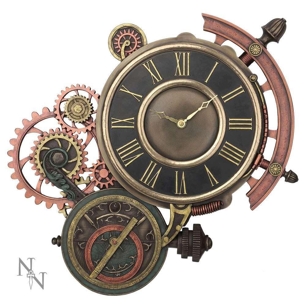 Steunk Deko steunk wanduhr mit sextant und astrolabium voodoomaniacs