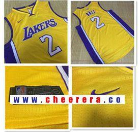 Men s Los Angeles Lakers  2 Lonzo Ball Yellow 2017-2018 Nike Swingman  Stitched NBA 84c32493f