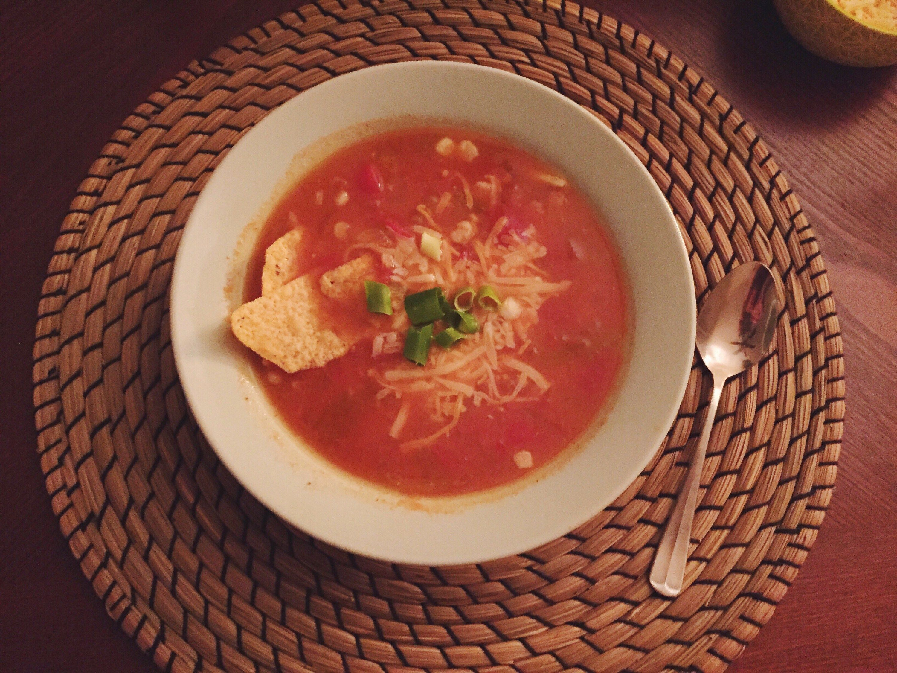Finished chicken tortilla soup in bowl
