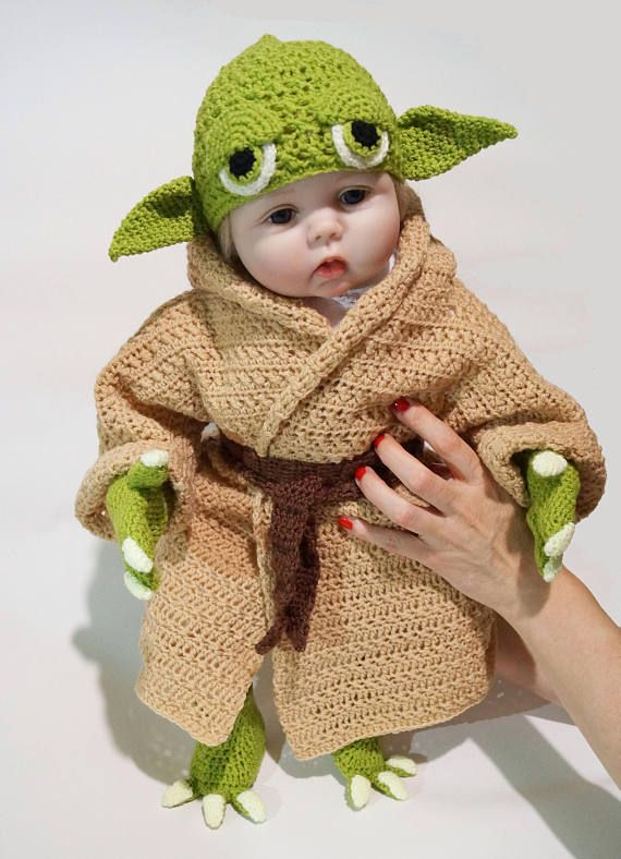 3ec7d880d3b Infant Yoda Crochet Costume Pattern PDF - Star Wars Costume - Newborn Baby  Crochet Pattern - Yoda Baby Costume