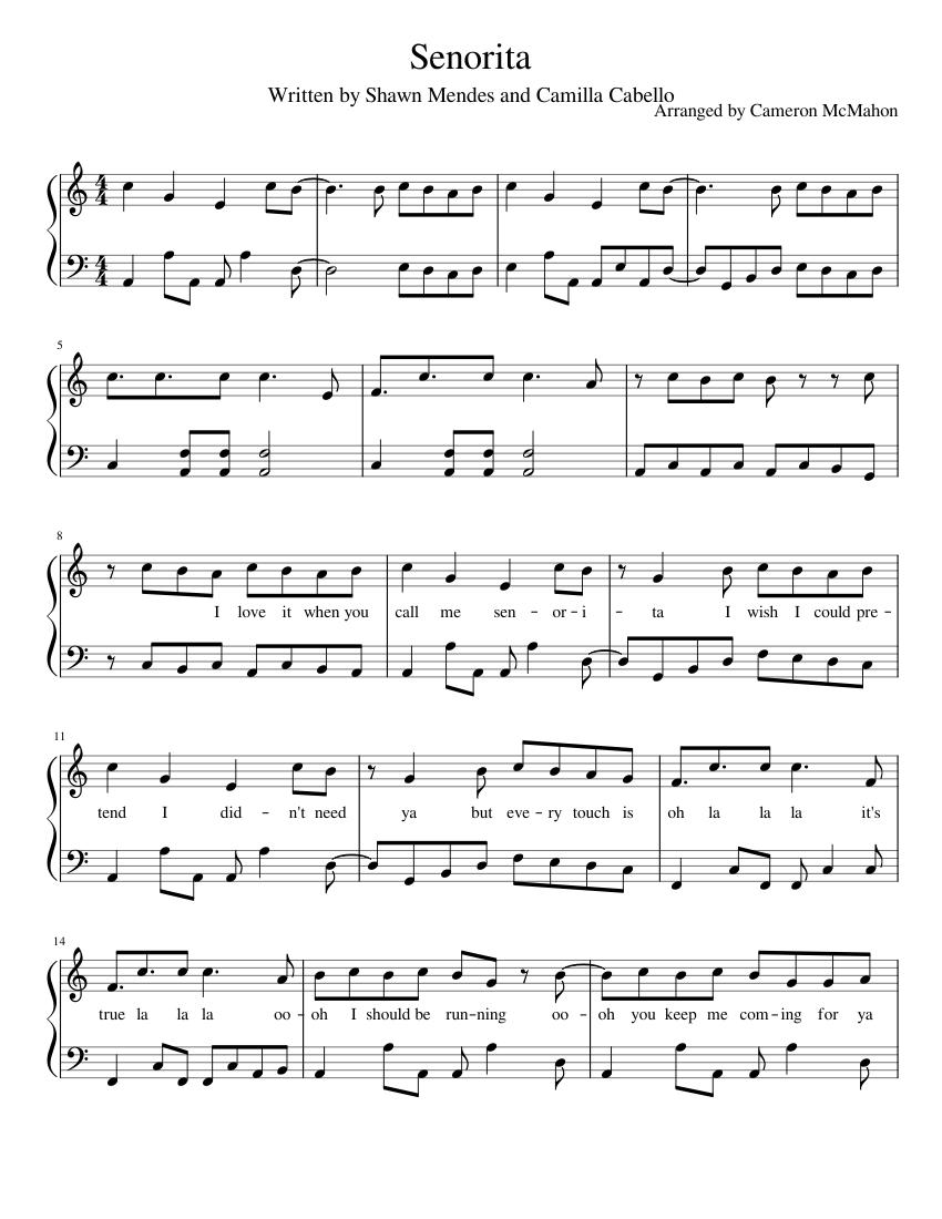 Print And Download In Pdf Or Midi Senorita Señorita Written For Piano Written By Shawn Mendes And Camila Ca Piano Songs Keyboard Sheet Music Piano Sheet Music