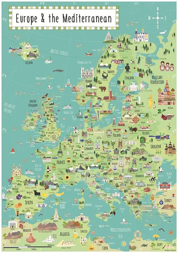 6bf9231c143 Illustrated Map Europe - Large Children s Europe map - A1 Print ...