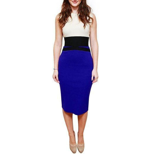 Uoften Damen Etuikleid Business Stretch Cocktail Pencil Dress Party ...