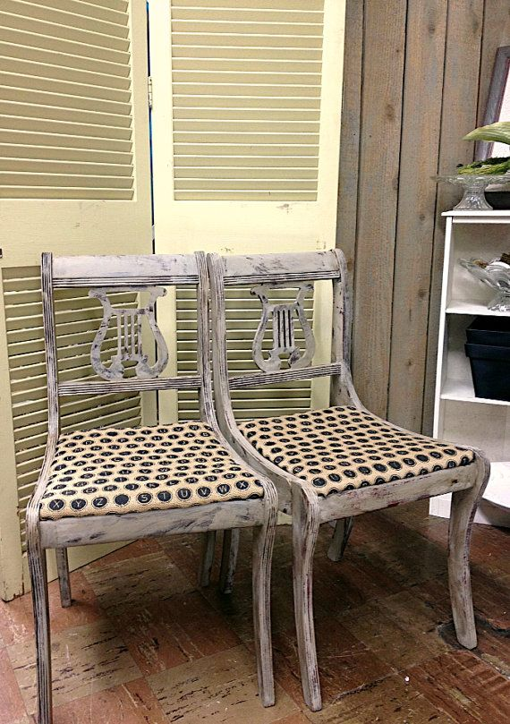 Vintage Antique Harp Dining Room Chairs Set 2, Chalk Paint Paris Grey Dark  Wax, - Vintage Antique Harp Dining Room Chairs Set 2, Chalk Paint Paris