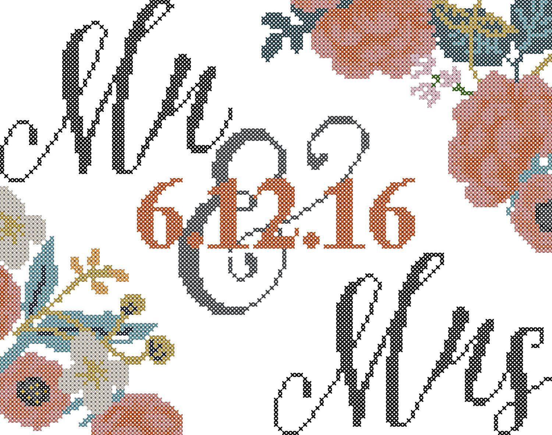 Wedding cross stitch pattern/modern cross stitch pattern/floral ...