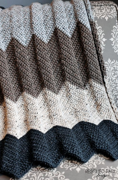 Neutral Chevron Crochet Blanket Pattern | Cobija, Frazada y Manta