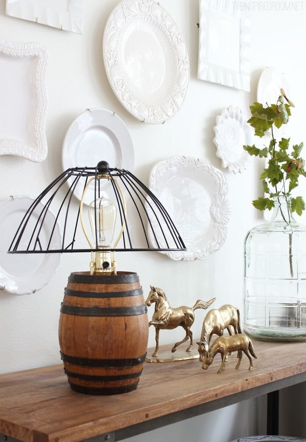 DIY Reclaimed Barrel Lamp & Wire Cage Lampshade The white, Plate wall and Tutorials