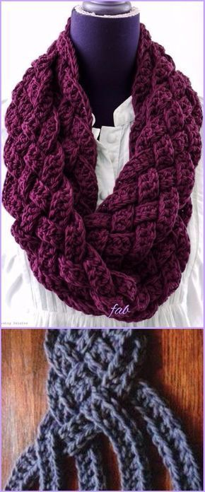 Crochet Braided Scarf Free Patterns | Tejido, Ganchillo y Patrones