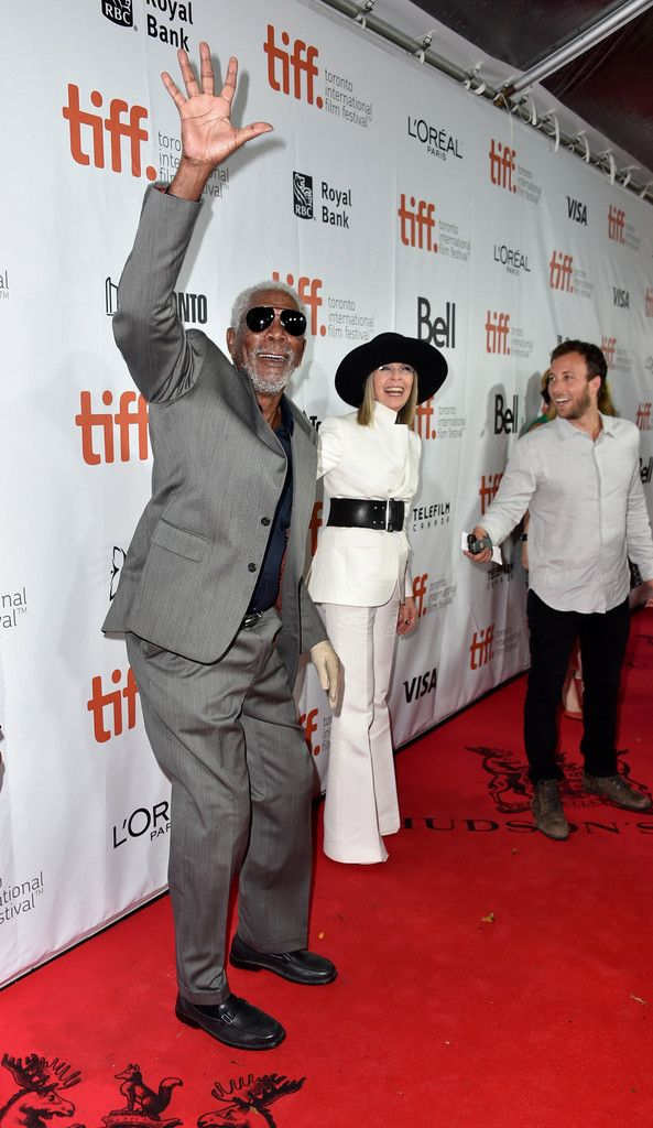 """Actor Morgan Freeman (L) and actress Diane Keaton attend the """"Ruth & Alex"""" premiere during the 2014 Toronto International Film Festival at Roy Thomson Hall on September 5, 2014 in Toronto, Canada."""