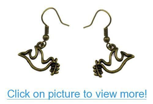 Dove of Peace Dangle Earrings in Antique Bronze #Dove #Peace #Dangle #Earrings #Antique #Bronze