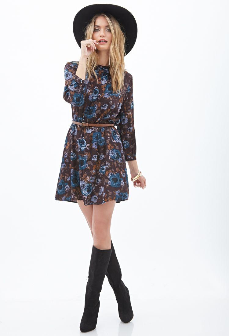 Geblümtes Kleid mit hohem Ausschnitt - Kleidung - 2000085123 - Forever 21 EU