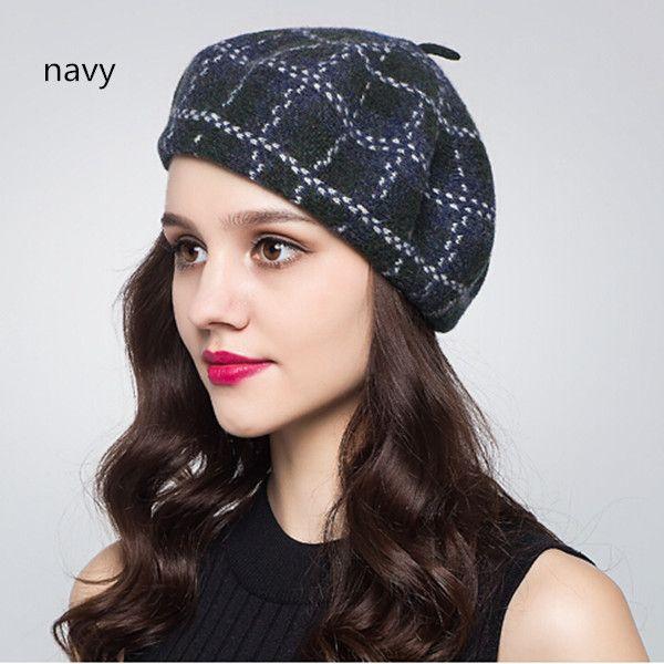 7e94b188b7e Scottish plaid French beret hat for women winter wear