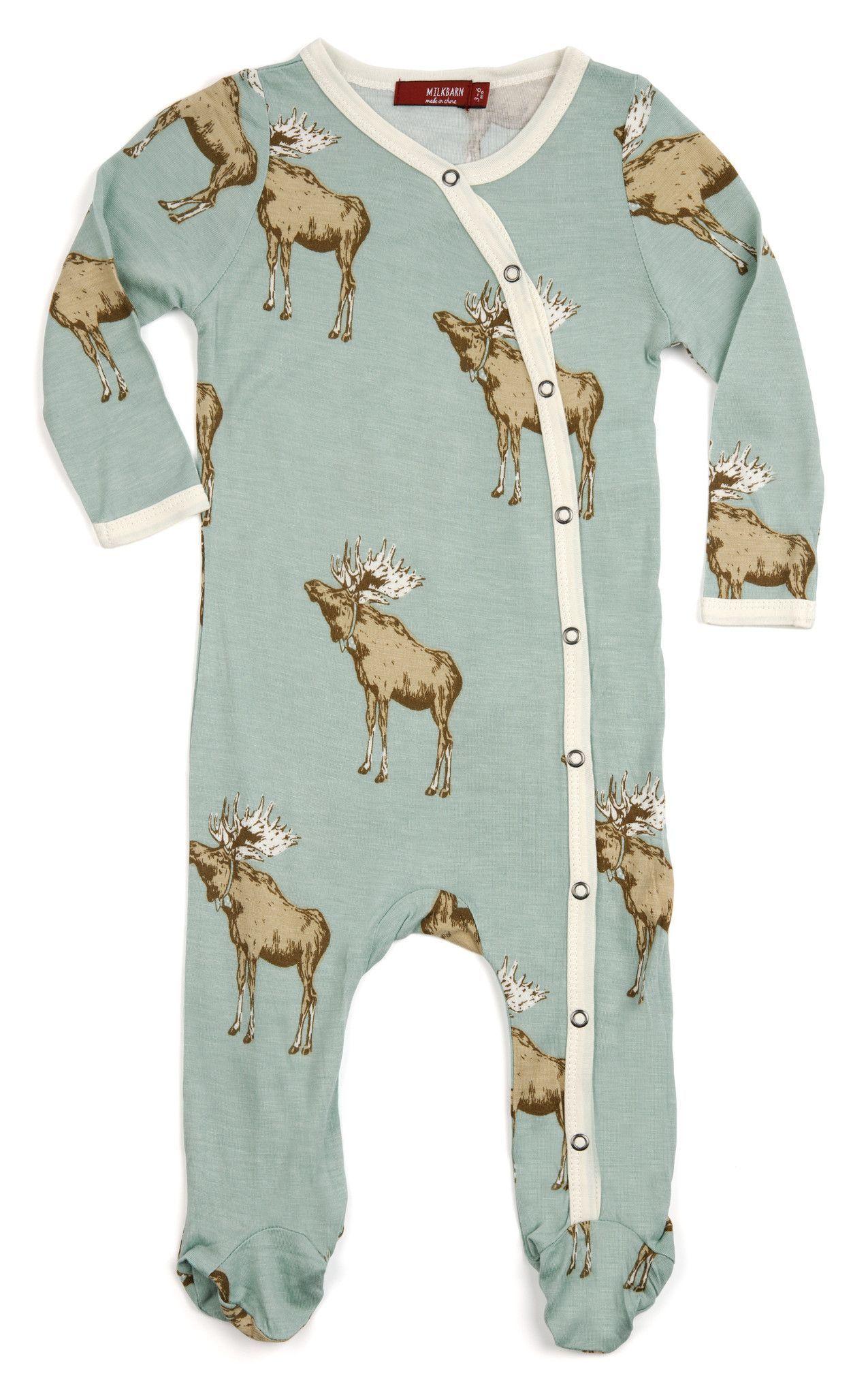MilkBarn Baby Bamboo Footed Romper Bow Tie Moose