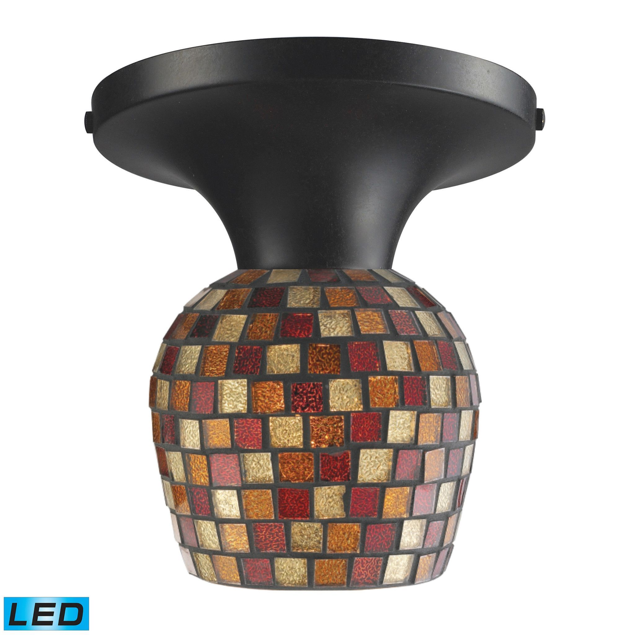 ELK Celina 1-Light Semi-Flush In Dark Rust And Multi Fusion Glass - LED - 10152/1DR-MLT-LED
