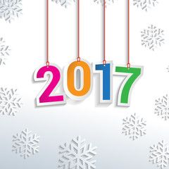 Happy New Year  Hanging Text Colored Red And Snowflakes