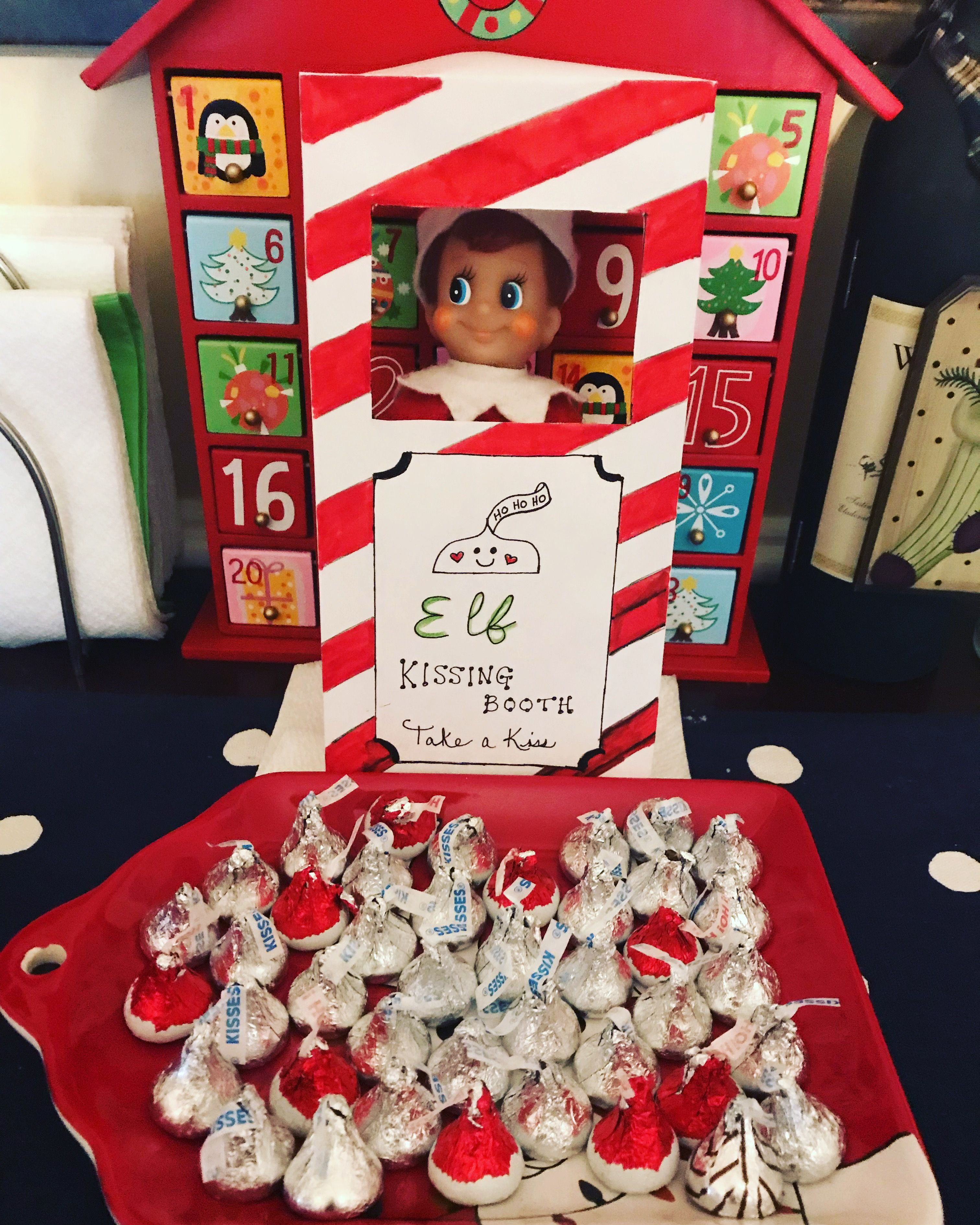 Our Elf is giving out kisses this morning.... chocolate