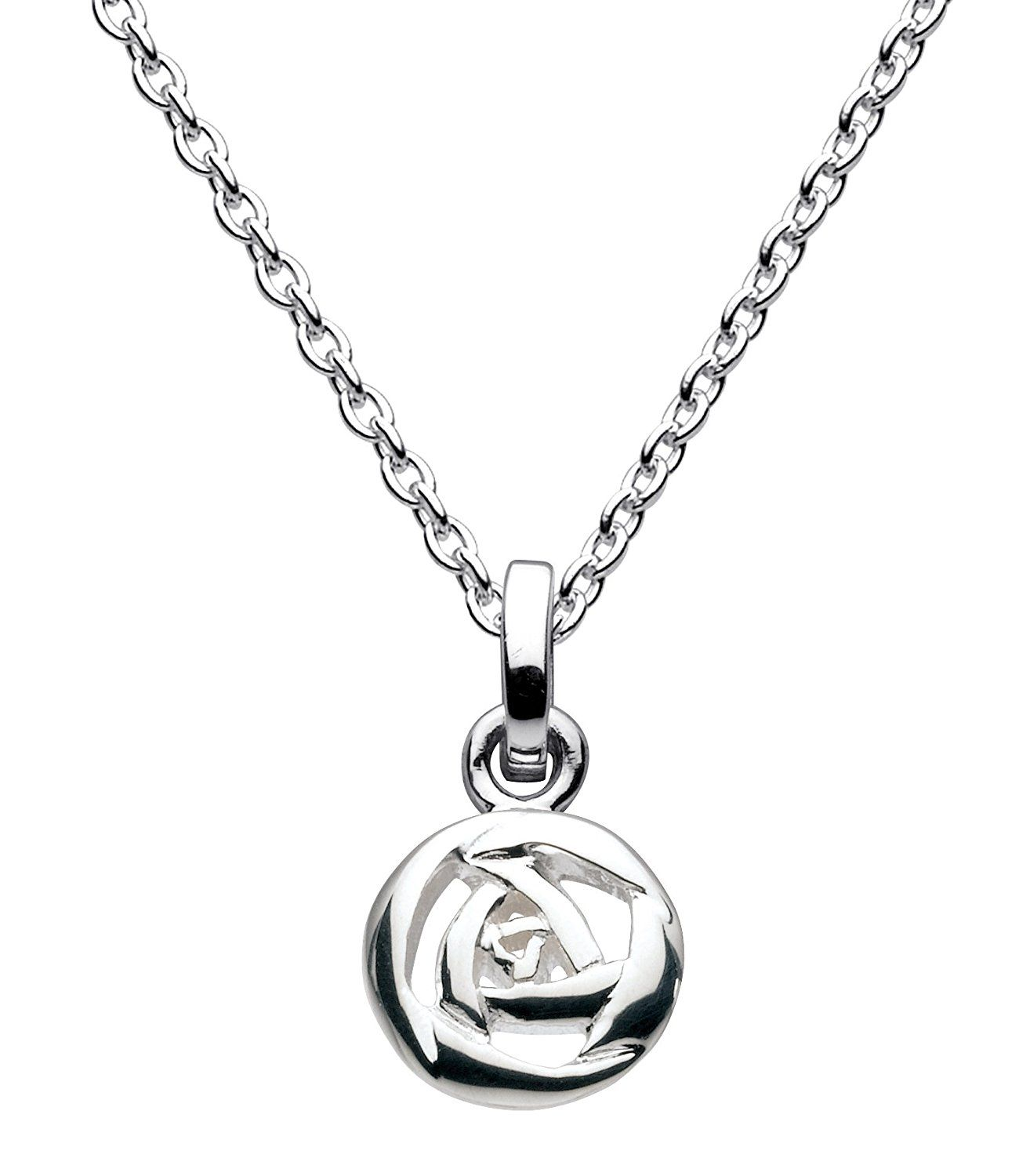 Dew Sterling Silver Puff Heart Necklace of Length 45.7 cm wrR7Fu
