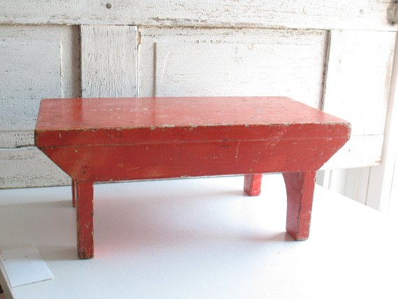 Groovy Primitive Red Painted Wooden Bench Small Wood Childrens Theyellowbook Wood Chair Design Ideas Theyellowbookinfo