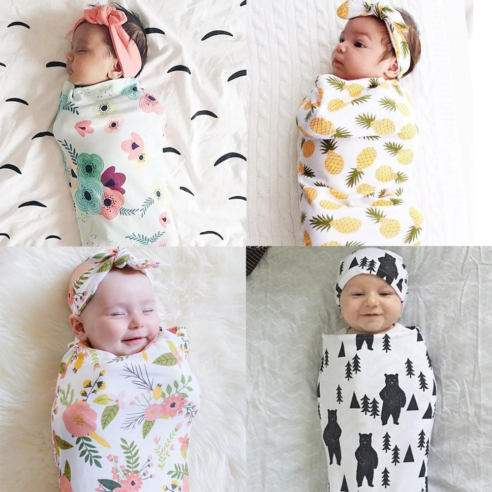 Newborn Swaddle Blanket Baby Boys Girls Sleeping Bag Wrap Headband Cloth  0-3M