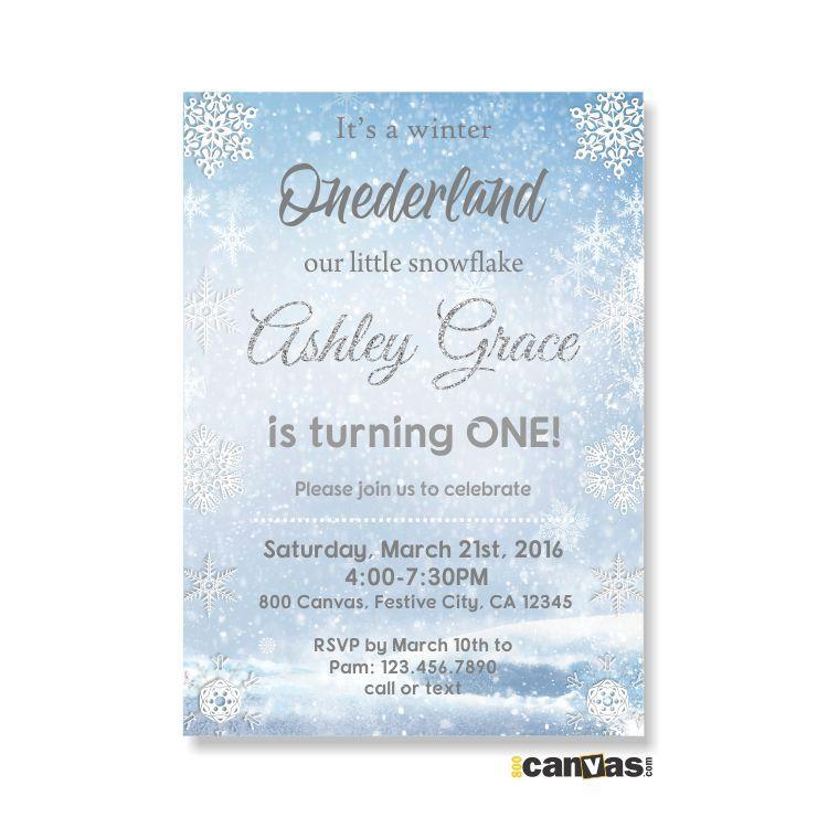 Winter Wonderland First Birthday, Winter Onederland Invitation ...