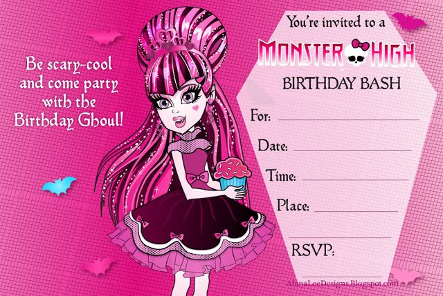 Astounding image for free printable monster high invitations