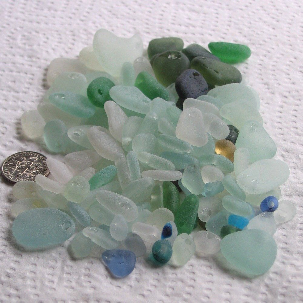 119 sea glass drilling imperfections blow outs drilled 15