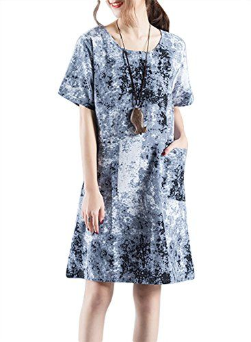 2158be5c Womens Cotton Linen Floral Print Aline Midi Long Dress Travel Clothing Blue  XL * See this great product.