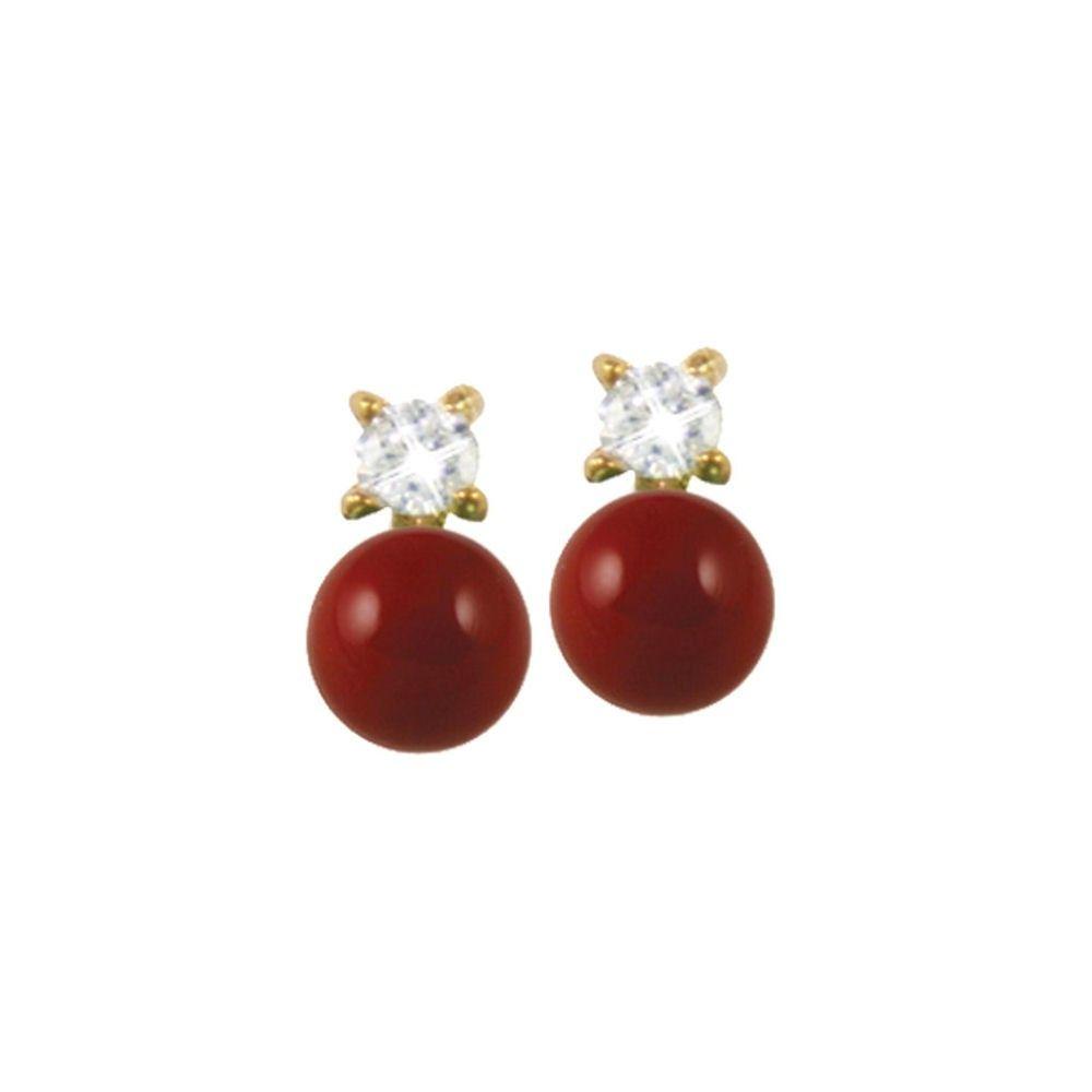 Timeless Coral Red Pearl & CZ Gold Pierced Stud Earrings | Tøj og tilbehør | Eternal Collection