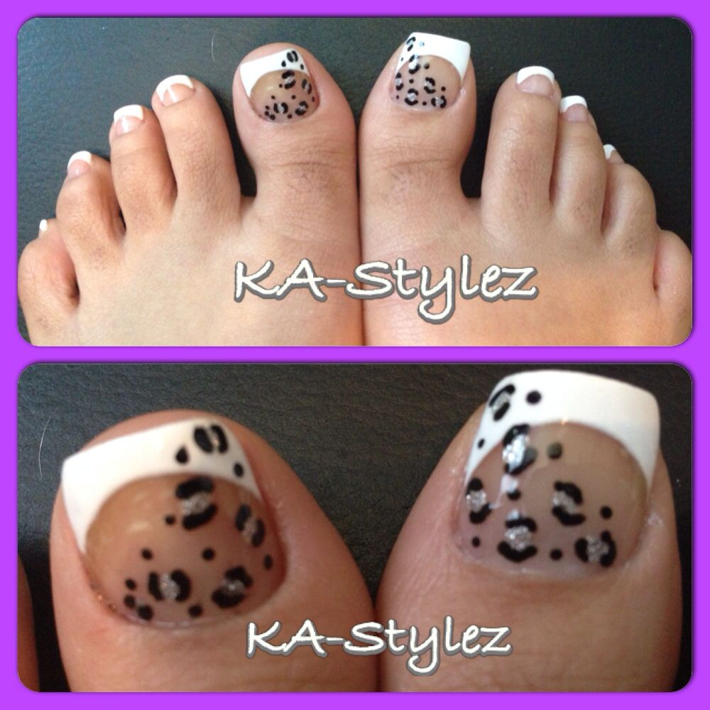 My French toes with leopard print designs | Toe nails | Pinterest ...