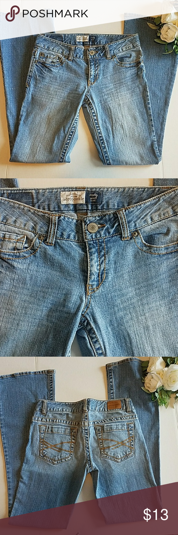 01a7fb0e299 Aeropostale Hailey Skinny distressed Flare denim Aeropostale Hailey Skinny  Flare Blue Jeans 3/4 Reg 41 inches length great condition Aeropostale Jeans  Flare ...