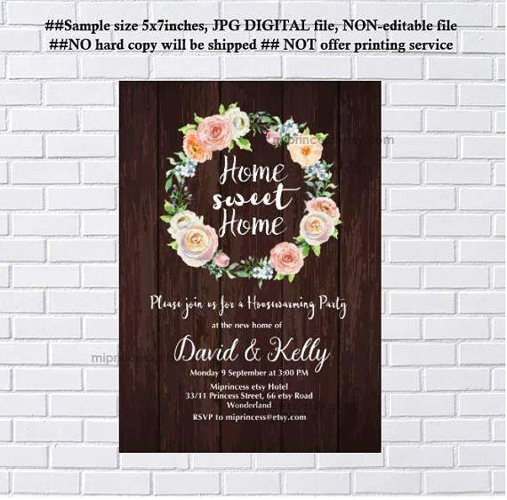 Floral housewarming home sweet home housewarming party boho floral wreath housewarming party invitation new house home sweet home housewarming stopboris Gallery