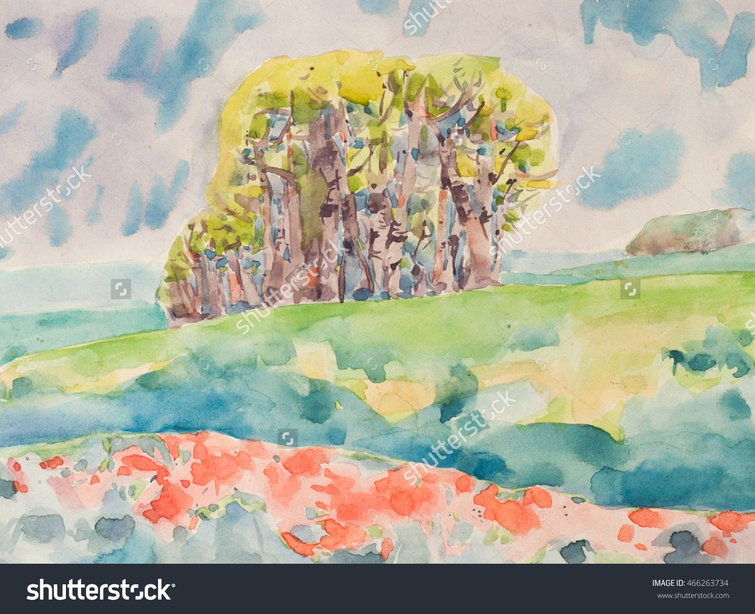 Watercolor spring bright color trees, clouds and field. A group of ...