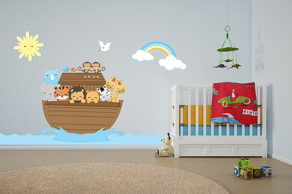 Noahs ark bible church nursery wall decor toddler wall decals removable wall stickers for kids rooms giraffe and elephant wall decal
