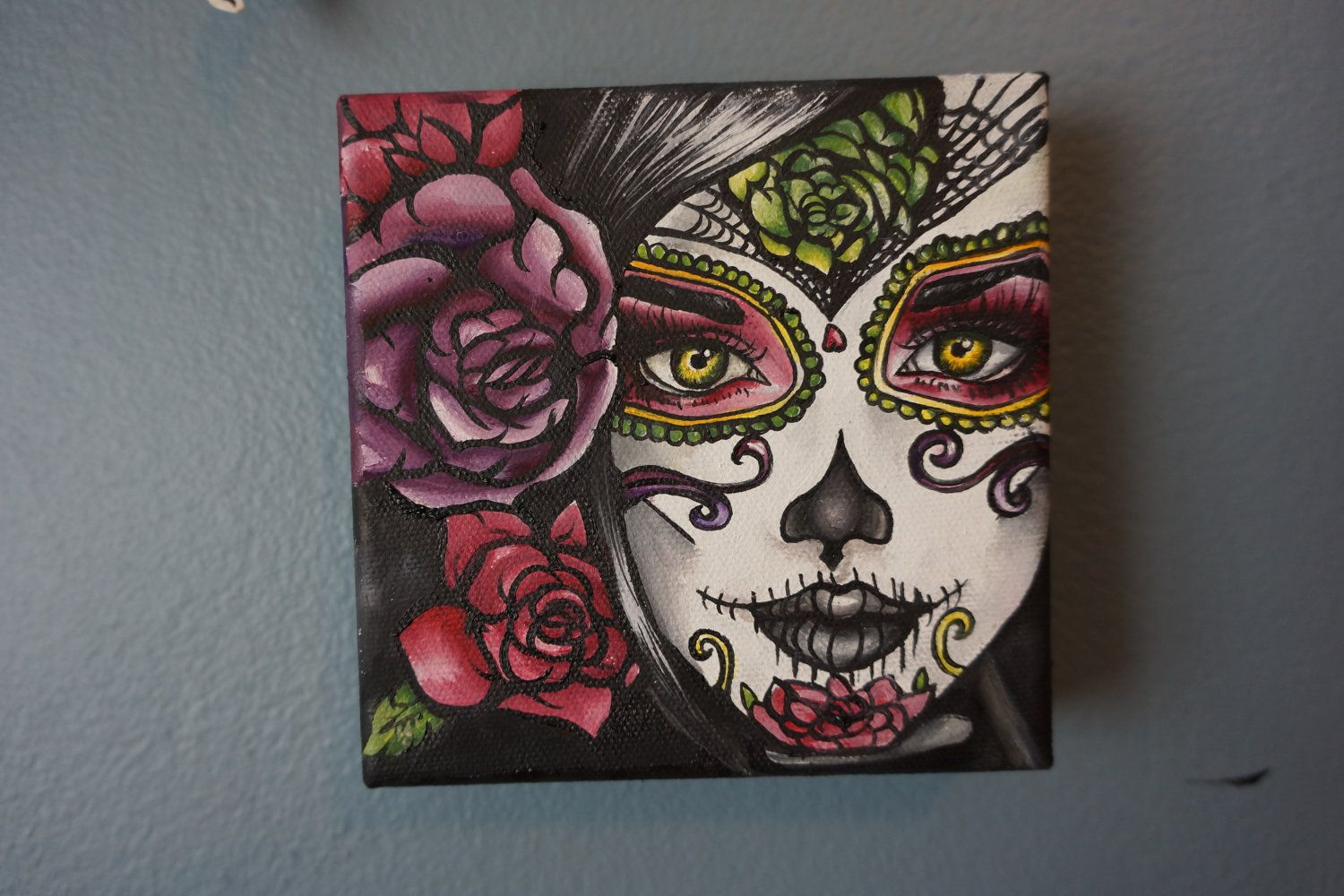 Genial Reserved  Day Of The Dead Dia De Los Muertos Painting  Original Oil  Painting 5 X 5 Big Eye Art Lowbrow Tattoo Home Decor Art