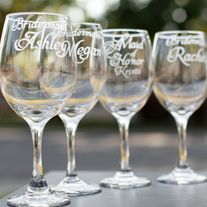 Set of 4 Bridesmaid Personalized Style Wine Glasses with Wedding Date on Foot of Glass Hand Etched Glass from EVerre