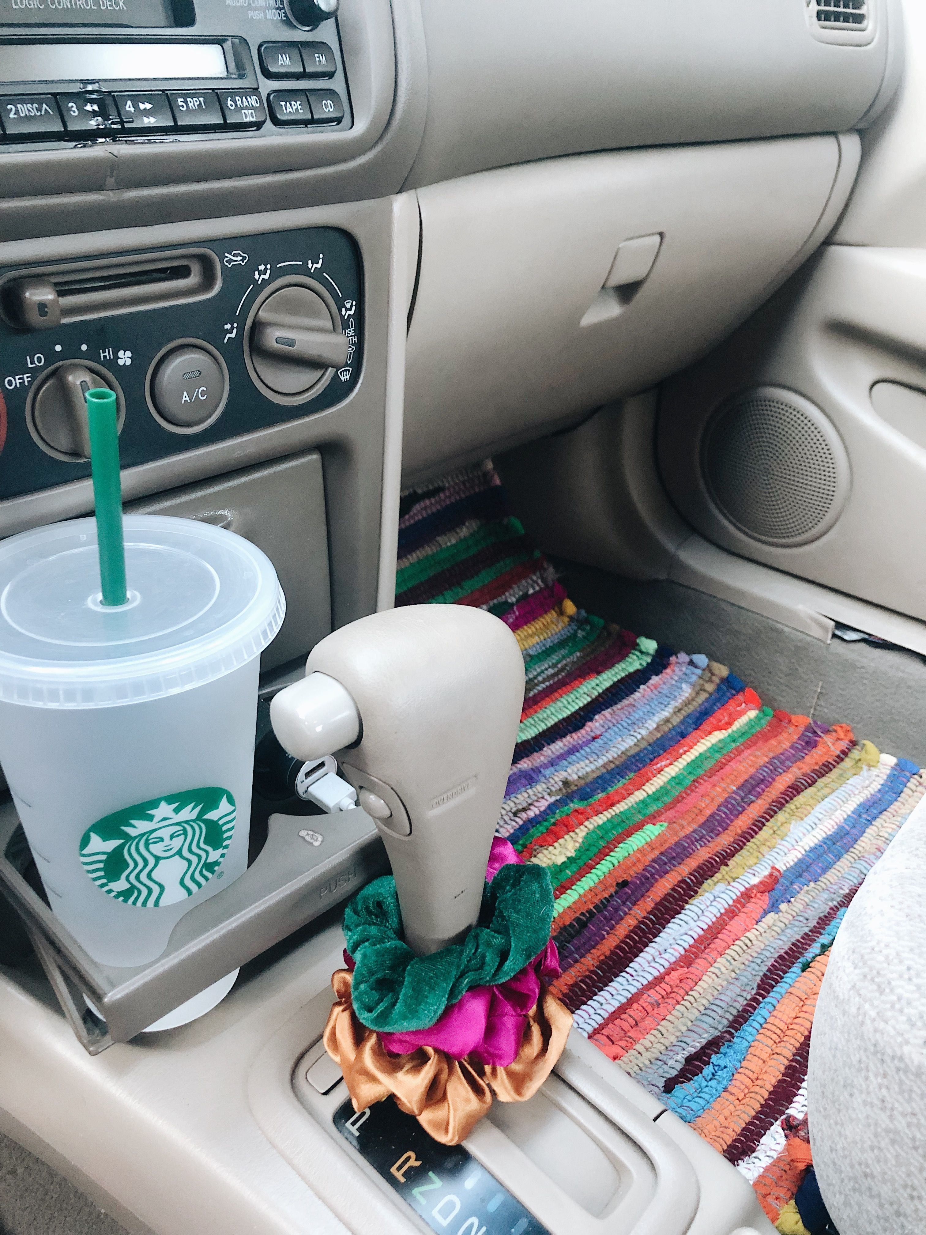 Easy way to decorate your car! Scrunchies, a cute reusable cup (that you'll actually use, and $3 floor mats from Ollie's!!!