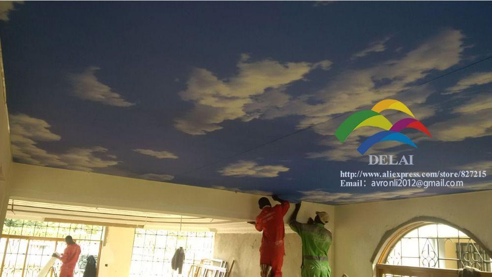 S--5122 blue sky druck pvc decke film mit led-lampe in wohnzimmer