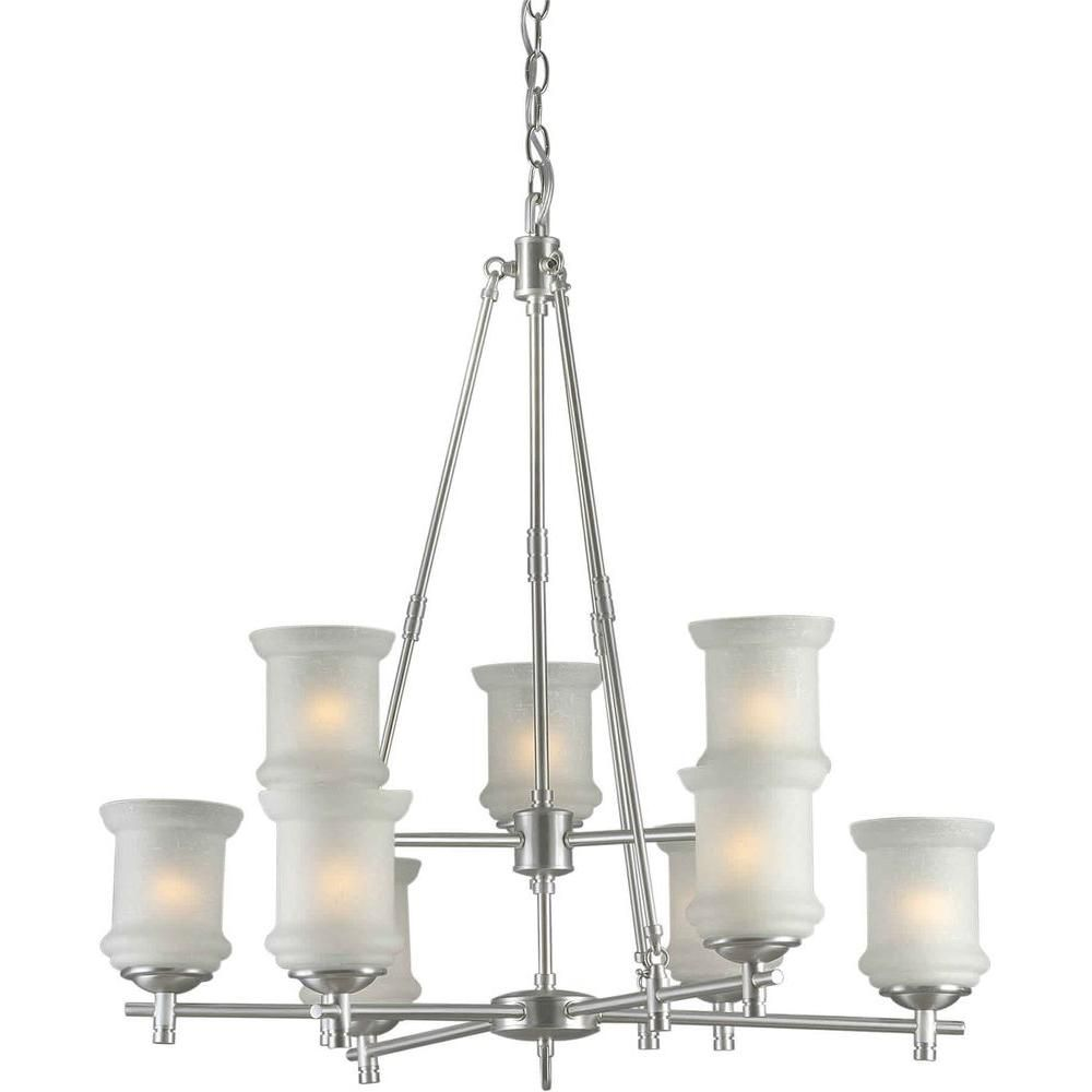 Talista 9 Light Brushed Nickel Chandelier With White Linen Glass