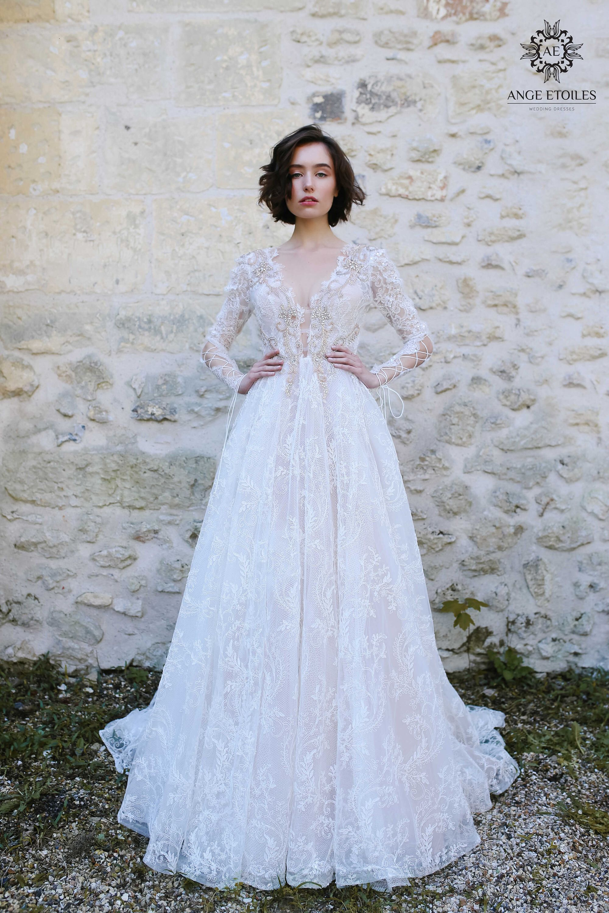 Wedding dress olivia long sleeve wedding dress boho wedding dress