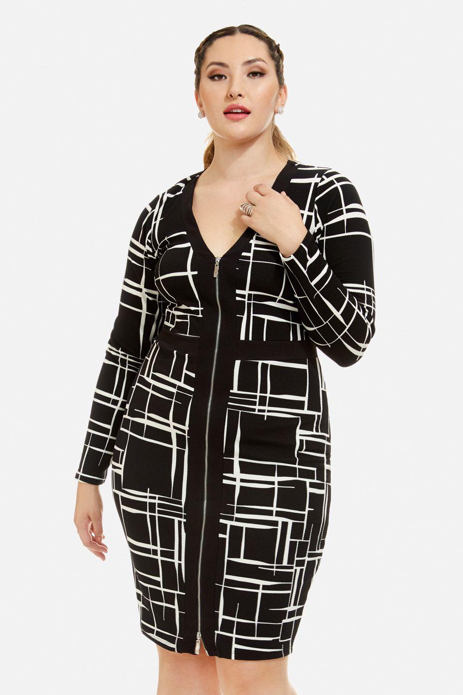 Plus Size Alicia Geo Print Zip Front Dress Fashion To Figure