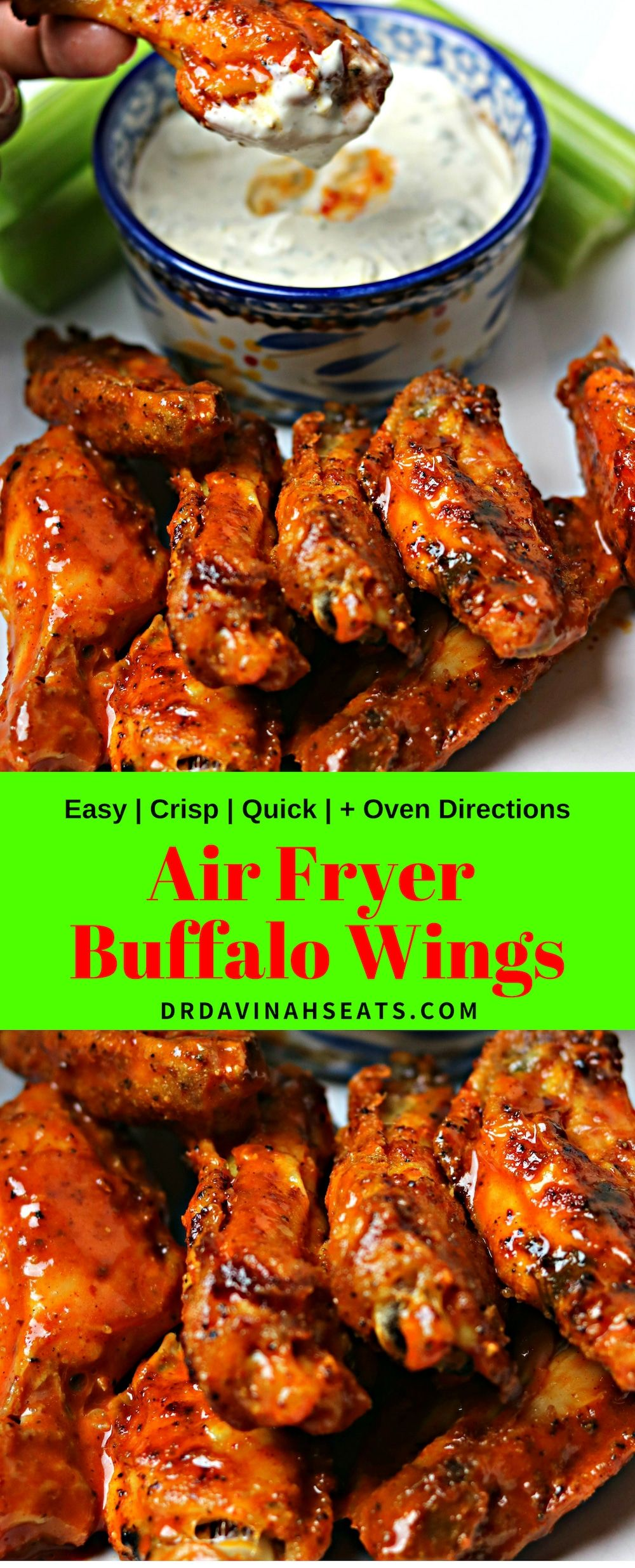 a quick recipe for air fryer buffalo wings and blue cheese dressing that is homemad chicken wing recipes air fryer recipes healthy buffalo chicken wings recipe pinterest