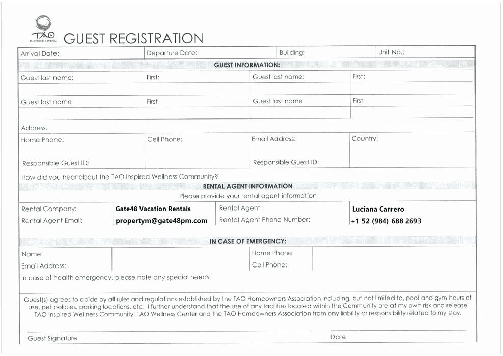 Simple Registration Form Template Fresh Guest Registration Form