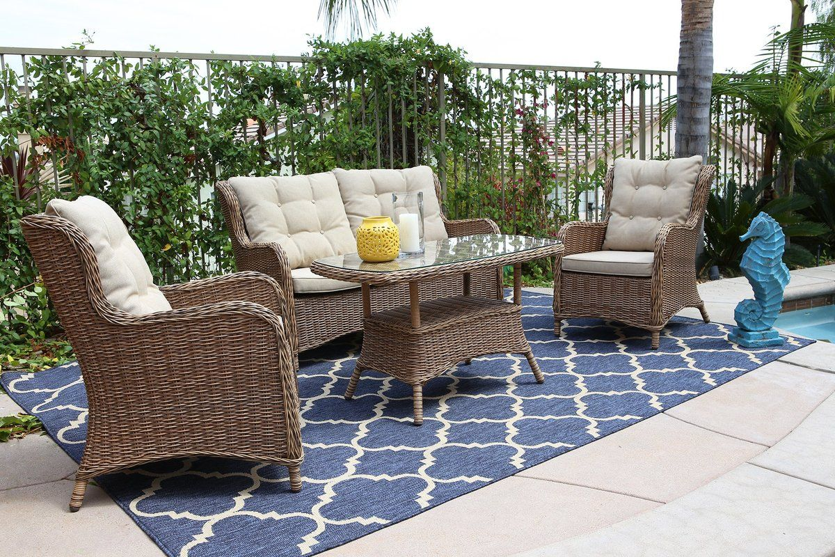 Canterbury 4pc steel wicker seating set with images
