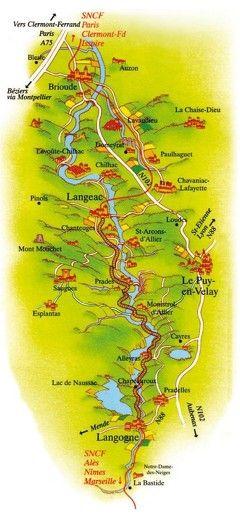 carte touristique puy de dome Carte parcours Train Touristique des Gorges de l'Allier (avec