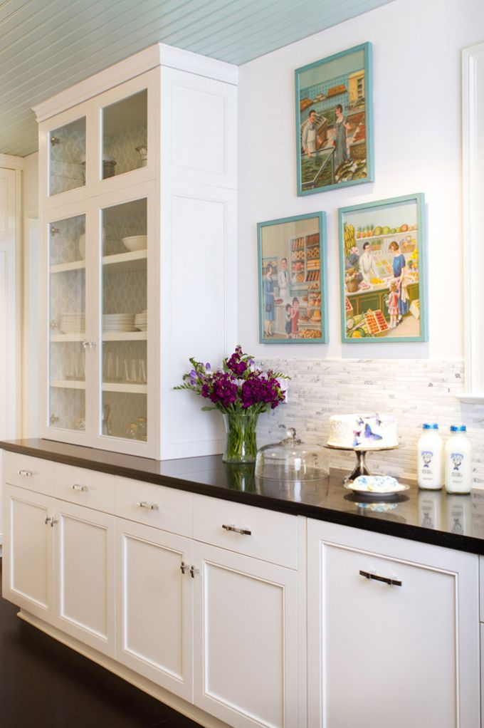 Aqua Beadboard + White Kitchen: Cabinets With Light Aqua Patterned  Wallpaper Lining
