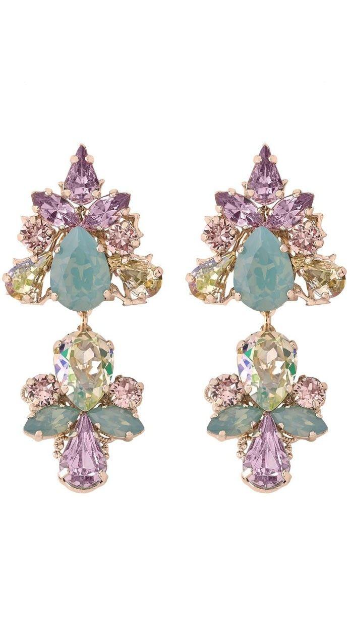 2f37e00aad16 ANTON HEUNIS - Joyas de alquiler - pendientes multicolor para invitada    novia disponible en dresseos.com