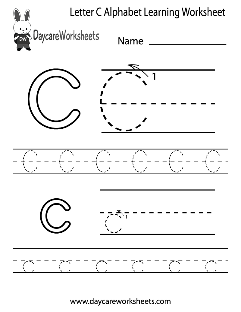 Worksheets Alphabet Worksheets For Pre-k Free preschoolers can color in the letter c and then trace it following preschool alphabet learning worksheet printable