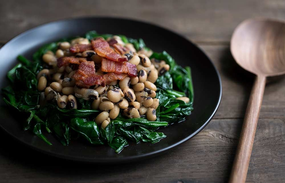 Black Eyed Peas with Spinach and Bacon Recipe Spinach